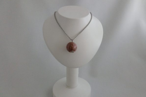 Collier perle rozajou en céramique