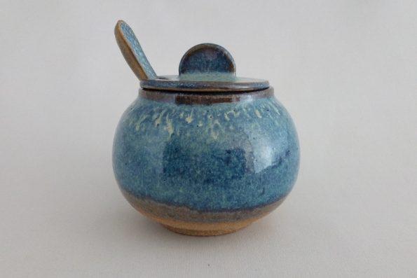 Sucrier ou moutardier bleu et terre Simon bis