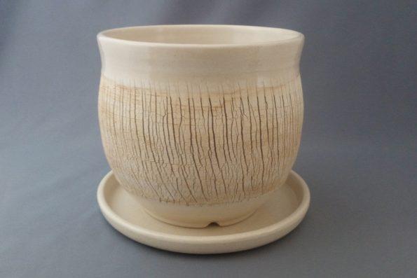 Pot à cactus «terre du désert» blanc crème
