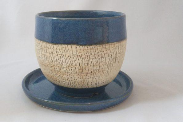 Pot à cactus «terre du désert» bleu en céramique