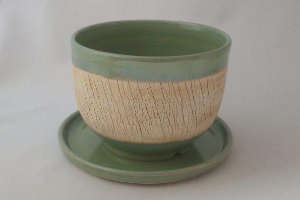 Pot à cactus «terre du désert» vert en céramique