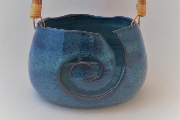 Bol à tricot vague, bleu intense, en céramique
