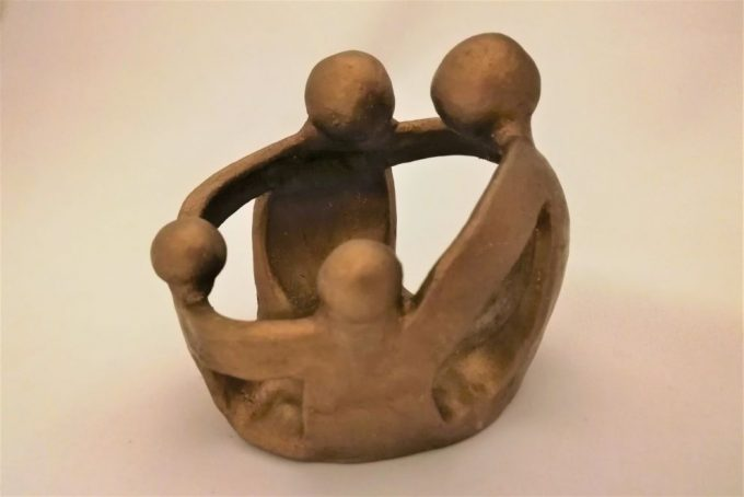 "Sculpture ""family"" bronze en céramique"
