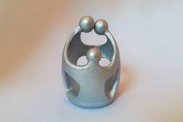 Sculpture «Family» argentée en céramique